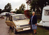 Olive C by Bill C's car in son Tim's Fishery Creek Camp Park c1990