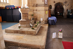 Font and Tom Thumb's grave in Holy Trinity Collegiate Church ~ Tattershall ~ Lincolnshire