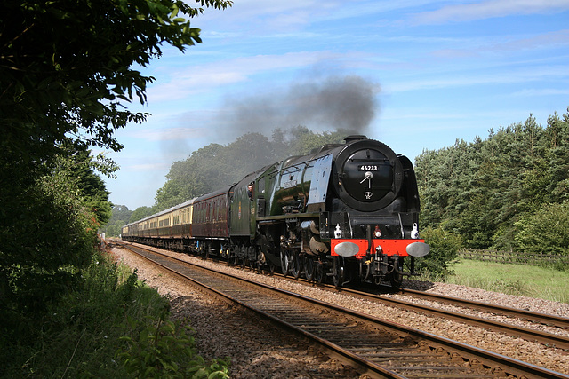 LMS class 8P Coronation 46233 DUCHESS OF SUTHERLAND at Meads Lane Crossing with 1Z24 Scaborough - Tyseley The Scarborough Flyer 1st July 2017