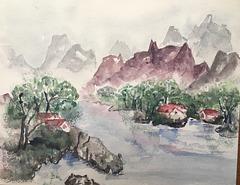 Aquarelle : Impression chinoise
