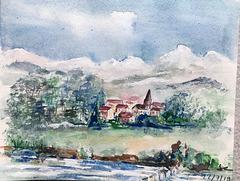 Aquarelle : Village en montagne