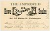 Weight Card, Howe Standard Scales, Philadelphia, Pa., 1879