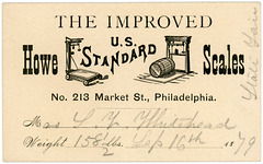 Weight Card, Howe Standard Scales, Philadelphia, Pa., 1879