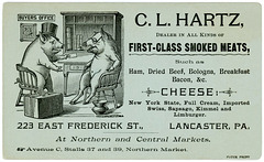C. L. Hartz, Dealer in Meats and Cheese, Lancaster, Pennsylvania