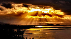 Sunrays across Dungarvan Bay, Waterford, Ireland.