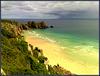 Porthcurno, Pedn Vounder Beach and Logan Rock