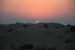 U.A.E., Dubai, The Sunset over the Arabian Desert