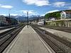 Bahnhof Spiez, mit Blick zur Berner Alpenkette