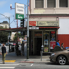 """San Francisco scene of drinking Cokes and Sprites at Mike's. I bet """"groceries"""" includes potato chips."""