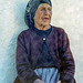 the old woman in blue