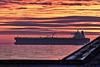 "Daybreak over oil tanker ""Desimi"" in Weymouth Bay"