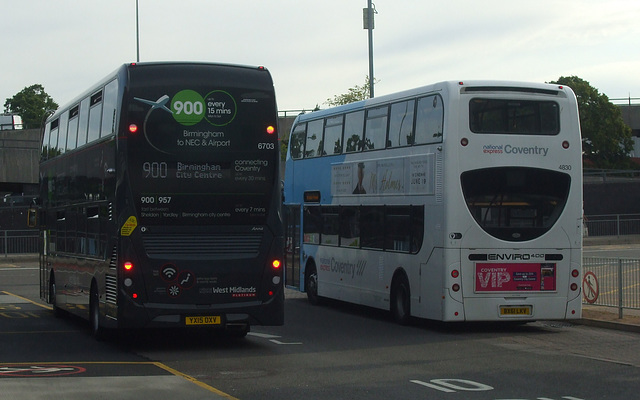 DSCF0425 New and old style Enviro400s at Coventry
