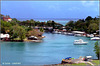 St.Lucia : il porto di Castries - sullo sfondo la pista dell'aeroporto