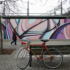 le vélo qui regarde passer le chien