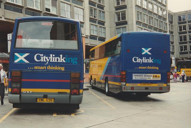 Scottish Citylink contractors - First Grampian Mairs XWL 539 (J795 KHD) and Rapson's L592 RST at Edinburgh - Sat 2 Aug 1997