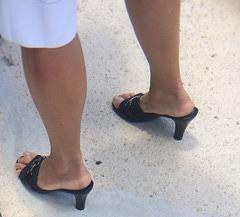 wife in black aerosoles heels
