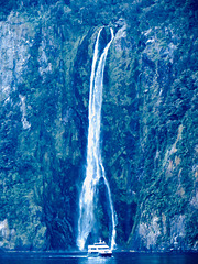 Waterfall,....Te Wahipounamu.. Milford Sound ..South Island.. New Zealand
