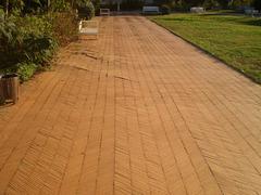 Brick pavement.