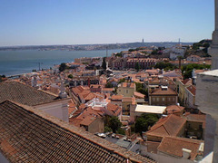 Towering view over Lisbon, Tagus River and Almada.