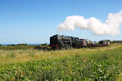 B.R. Standard class 9F 2-10-0 92203 BLACK PRINCE near Sheringham with 9M16 11.28 Sheringham - Holt Goods 2nd September 2017
