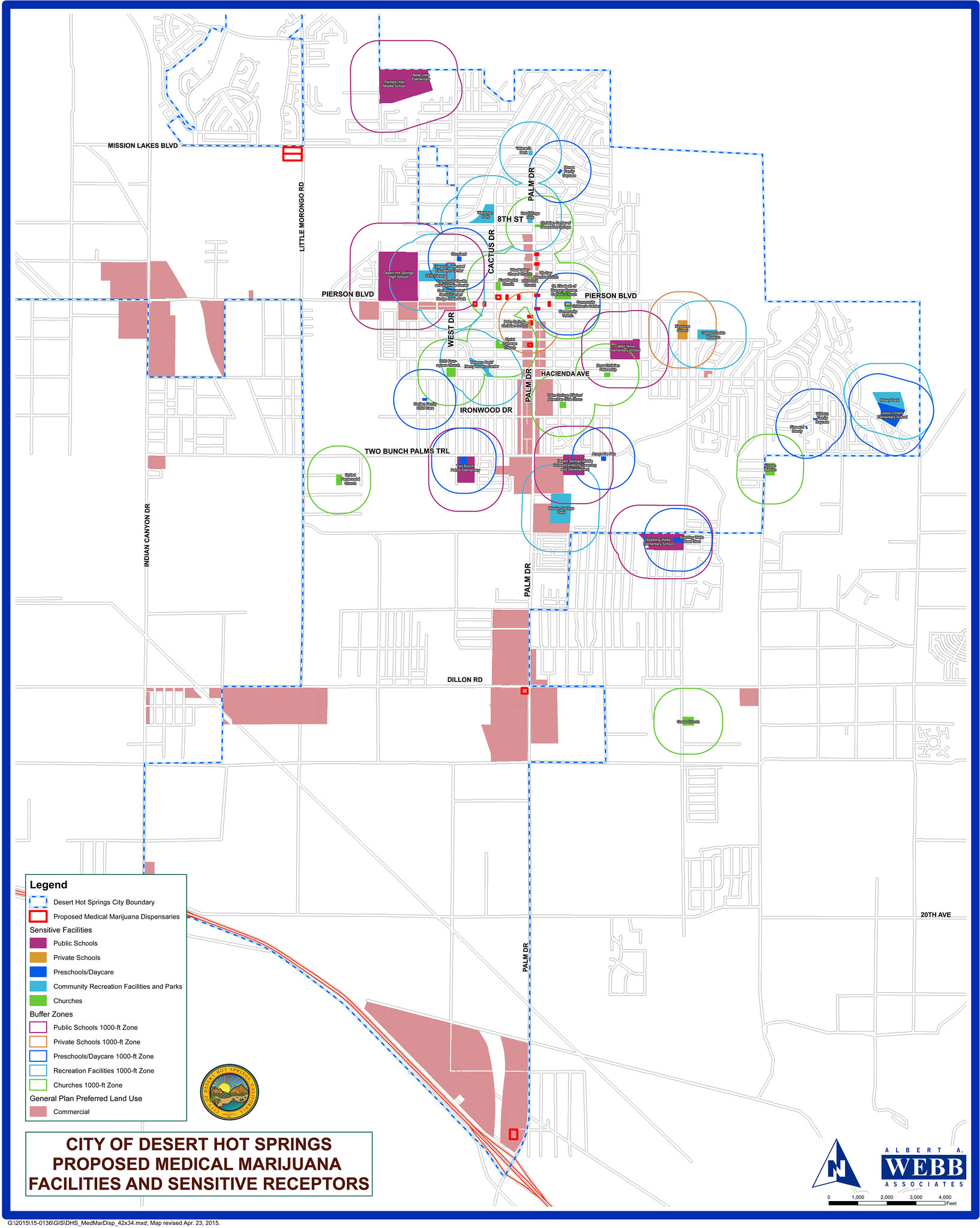 Desert Hot Springs map of proposed MMJ dispensary locations