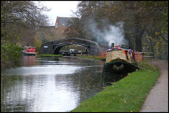 boat smoke on the canal