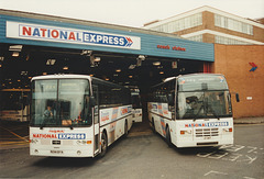 Trathens N314 BYA and South Wales Transport J1 SWT leaving Digbeth - 8 Sep 1995