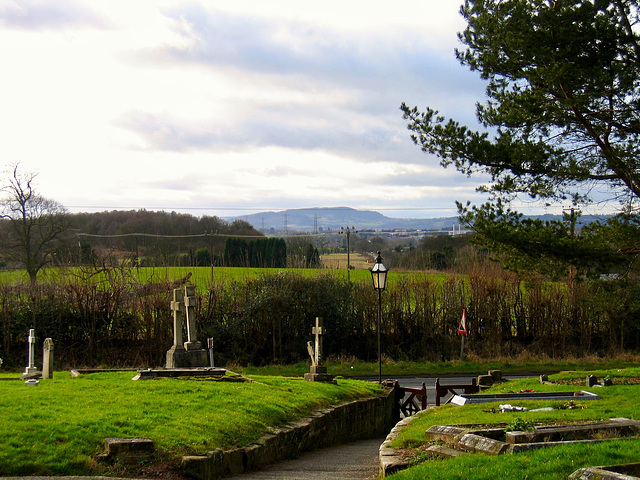 View towards the Malvern Hills from the Church of St Mary the Virgin at Stone