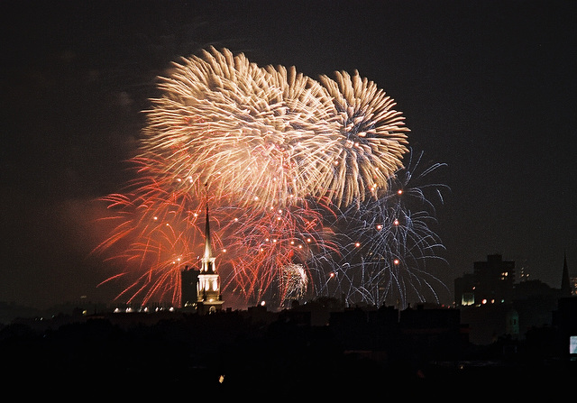 Boston July 4th fireworks from Cambridge
