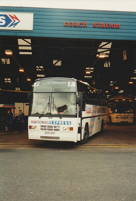 Shaw-Hadwin G553 SSP leaving Digbeth Coach Station, Birmingham - 8 Sep 1995