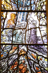Detail of Stained glass, Malvern Priory, Great Malvern, Worcestershire