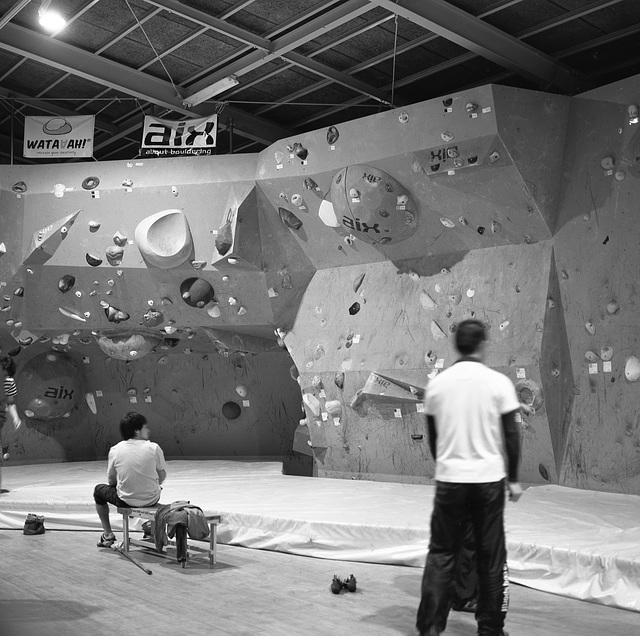 In a climbing gym