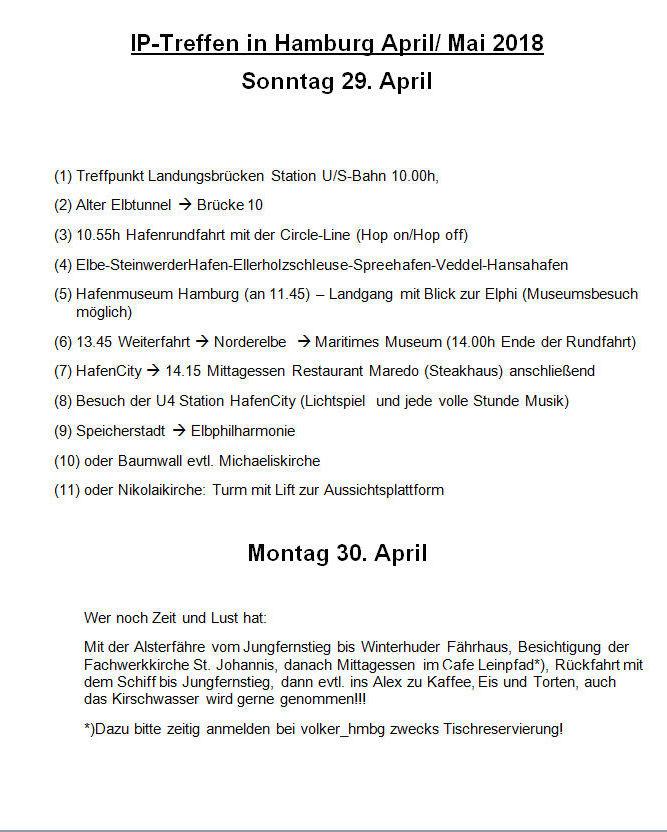 Programm 2018 So./ Mo. 29./30. April