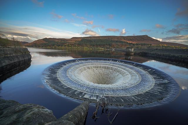 Ladybower dam.. the West overflow... 'Plughole'