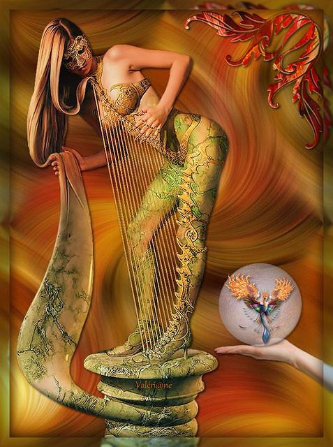 Femme harpe et son Phoenix**************