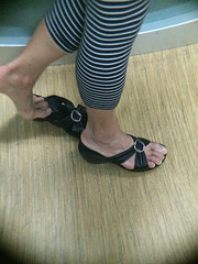 mature feet and shoe play
