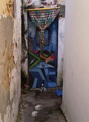 Street art on door.