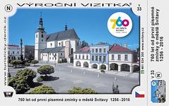 Jubilea vizitkarto de la urbo Svitavy (1256-2016)