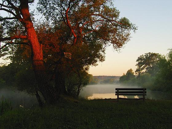 Morning fog above Lužnice river at Soběslav