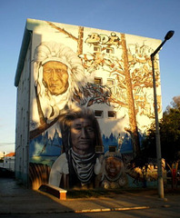 Mural of native Americans.
