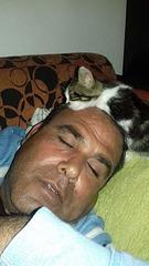 Doğan asleep, Whiskey asleep on his head!