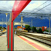 Tres Cantos railway station. Storm approaching from the Sierra de Guadarrama.