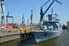 Rheinland-Pfalz (F 225) Fregatte der Deutschen Marine auf Reede im Hamburger Hafen