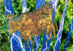 dubuffet's cow adrift in the electric