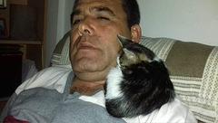 Whiskey crawled up to get on Dogan's shoulder himself