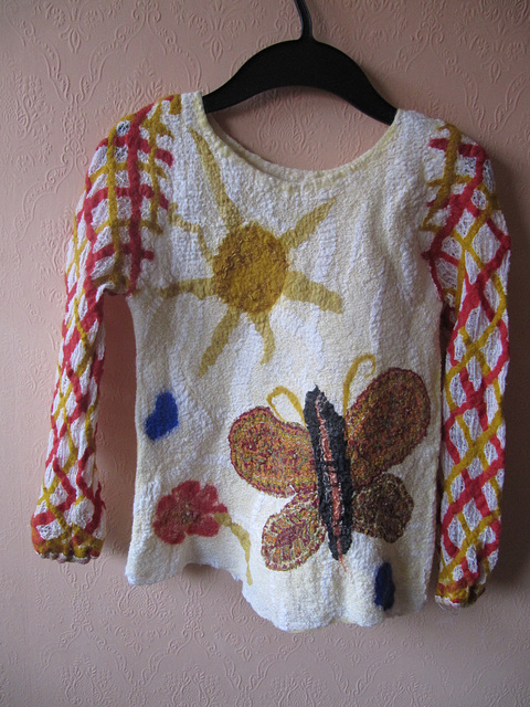 felted blouse (cotton gauze and merino wool)