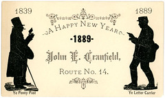 A Happy New Year from John E. Cranfield, Letter Carrier, 1889