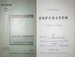 Lernolibro de Theodor Kilian kun persona dediĉo al la verkisto Karel Čapek