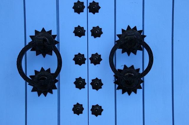 Blue door with stars
