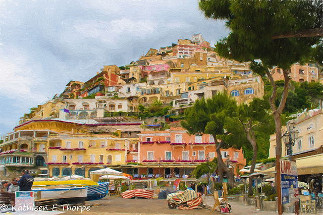 Positano Hillside - Topaz Painting Oil Paint II by Jim LaSala